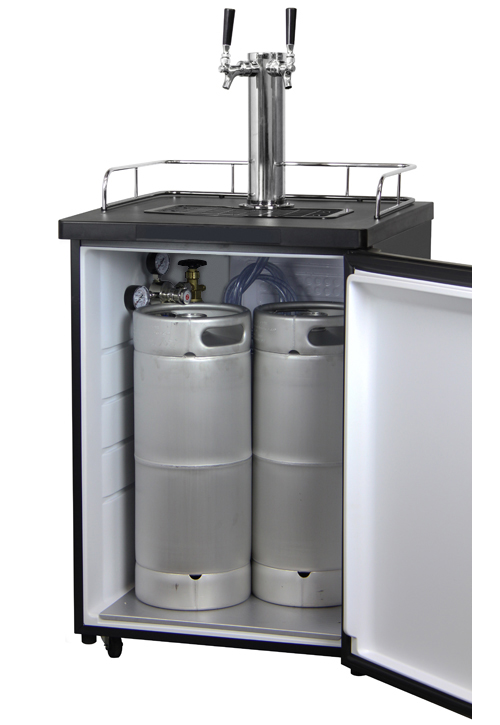 Kegco K209ss 2 Double Faucet Full Size Keg Coolers Black Stainless Steel Two Tap Keg Beer