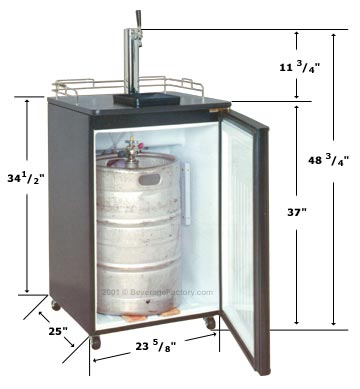 Dimensions of Sanyo Kegerator (beer tap).